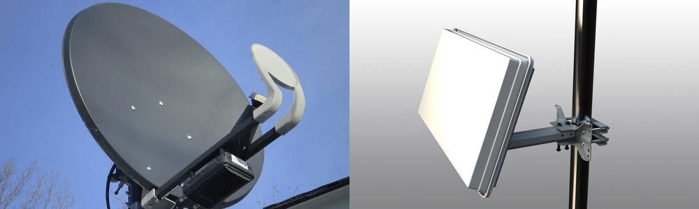 Parabolspiegel und Flachantennen